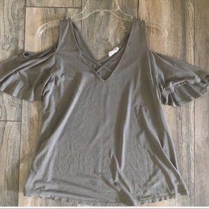 Grey/Green open shoulder top